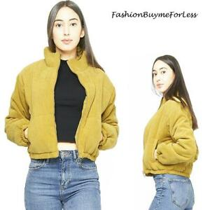 Women 70S BOHO Mustard Velour Suede Lined Corduroy Bomber Jacket Outerwear S M L