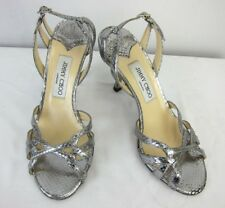 Jimmy Choo Womens Silver Leather Strappy High Heel Sandals SZ 38/US 8