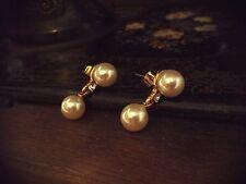 Vintage 10mm Perla y Cristal Gota Pendientes Perforados. Calidad Hermosa