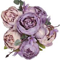 Vintage Pivoine Artificielle Fleurs en Soie Bouquet Décoration de Mariage à B7O1