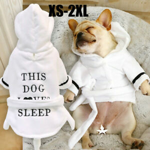 Puppy Pet Dog Clothes Pajama Robe Sleepwear Warm Hooded Bathrobe Water Absorbent