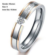 Band Promise Couple Love Gold/Silver Crystal Ring Titanium Steel