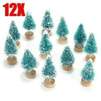 12Pcs Mini Sisal Christmas Trees Ornament Miniature Small Pine Tree Xmas Decor