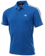 New Mens Adidas Essentials Climalite 3 Stripe Polo Shirt T-Shirt - Blue