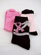 Breast cancer awareness socks dark brown pink ribbon solid pink 3 pairs