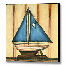 wooden painting picture model sailing boat,blue sail boys childrens room nursery