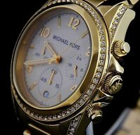 MICHAEL KORS LADIES CHRONOGRAPH WATCH MK5166 GOLD DIAL GOLD BAND BRAND NEW