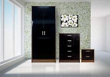 3 Pcs Bedroom Furniture Set Wardrobe Chest Bedside High Gloss Black Walnut Frame