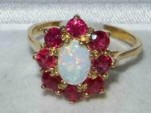 2Ct Oval Cut Fire Opal & Pink Ruby Women's Engagement Ring 14K Rose Gold Finish