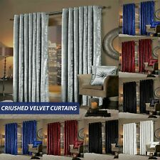 LUXURY Crushed Velvet Curtains Fully Lined Ring Top Indoor Eyelets Curtain Pair