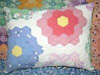 Lumbar Pillow Vintage Grandmother's Flower Garden Farmhouse Feedsack Quilt FGL01