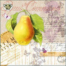 20 Napkins Botany Pear 33 x 33 cm Pear Leaves Butterfly Vintage