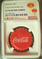 2018 Fiji $1 COCA-COLA Bottle Cap Silver Coin  NGC PF70 w/ OGP - GRADED IN CHINA