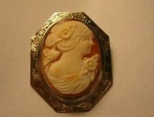 "Carved Cameo Shell Pin Brooch 1 3/4"" Estate Vtg Antique 10K White Gold Hand"