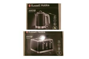 Russell Hobbs Inspire black Kettle And 4 Slice Toaster set