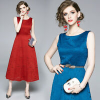 2019 Summer Embroideried Lace Hollow Out Crew Neck Sleeveless Women Midi Dress