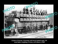 OLD LARGE HISTORIC PHOTO OF ECHUCA VICTORIA, RAIL TRUCK LOADED WITH WOOL c1900