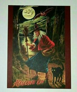 *UNUSED* Halloween Postcard: Witch In The Woods Vintage Image~Reproduction