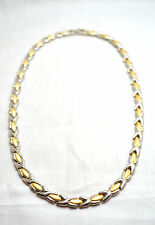 """LADIES 7.25 """" SILVER & GOLD HUGS 'N KISSES MAGNETIC THERAPY LINK BRACELET 4 Pain"""