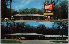 Baton Rouge, Louisiana Postcard PALMS MOTEL Roadside / Two Views 1950s Cars