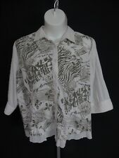 CJ Banks Womens Size 2X 3/4 Sleeve White Gray Blouse Button Front Shirt Top