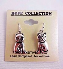Hope Collection Cat Lover Nickel Free Silver Cat Earrings Dangle Base Metal