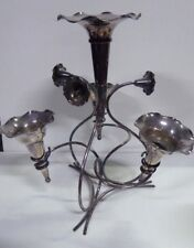 OLD SILVER PLATED TRUMPET EPERGNE VASE CENTRE PIECE DECORATIVE SCROLL ARTS CRAFT