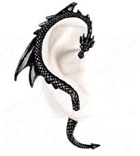 The Dragon's Lure BLACK Stud Earring Gothic Right Ear Wrap Alchemy Gothic E274b