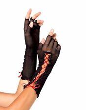 Guanti nero con intreccio in raso rosso donna net a rete guanti sexy shop