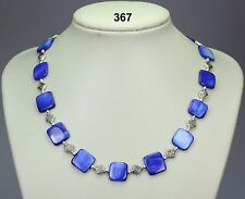 Lovely blue shell square 14mm bead necklace, Tibetan silver spacers,silver balls