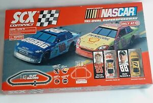 NASCAR  SCX Tri-Oval Superspeedway Compact 1:43 Slot Racing Set Complete
