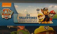 Nickelodeon Paw Patrol 24 ct Valentines Cards & 48 Heart Seals Keepsake Mailbox