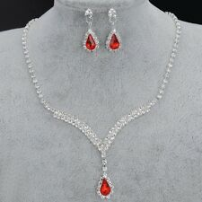 Alloy Silver Plated Red Crystal Necklace Earrings Bridal Wedding Party Set Gift