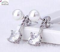 Orecchini da donna in argento marcato cristalli e perle swarovski R originali