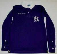 Womens Ralph Lauren Long Sleeve Polo Rugby Shirt XS Purple White Collar Pocket