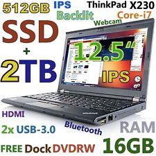 """Thinkpad X230 12.5"""" IPS i7-3rd Gen (512GB SSD + 2TB 16GB) DOCK USB-3.0 Backlit"""
