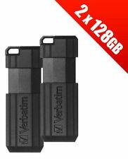 2 x Verbatim 128GB PinStripe Pen USB flash drives. (Multipack of 2 x 49071 Verba