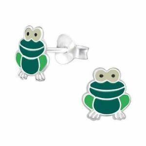 925 Sterling Silver Green Frog Stud Earrings, Boys Girls
