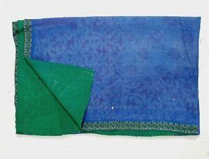 Vintage Kantha Quilt Blue and Green Solid color Heavy kantha handmade quilt