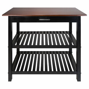 Casual Home Solid American Hardwood Kitchen Island with Drawer & Shelves, Walnut