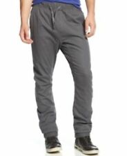 Galaxy by Harvic Mens Twill Jogger Pants Elastic Waist Cuffs Gray L