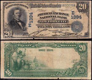 "1902 $20 NEW YORK, NY ""DATEBACK"" National Banknote! Ch. 1394! FREE SHIP! U650078"