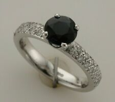 18ct White Gold Pavee Set Blue Natural Sapphire & Diamond Ring