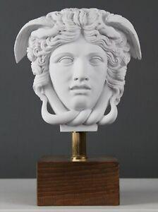 "Medusa Head Statue on Base Mythology Marble Bust Sculpture - 27.5 cm / 10.8"""