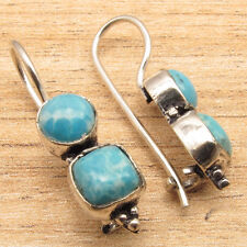 Simulated LARIMAR Gems Hot Design Cool Fashion Blue Earrings 925 Silver Plated