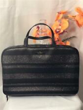 NWOT Kate Spade NY Haven Lane Black Glitter Leather Makeup Travel Cosmetic Bag
