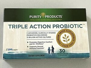 Purity Products Triple Action Probiotic 30 Veggi Caps Exp 01/2022 New In Box