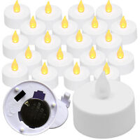 NEW 20 FLICKER AMBER LIGHT FLAMELESS LED TEALIGHT TEA CANDLES