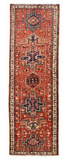 Vintage Karajeh Design Runner, 3' x 10', Red/Ivory, All wool pile