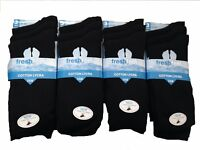 6 Pairs Mens Rich Cotton Black Socks With Lycra UK Size 6-11, Eu Size 39-45